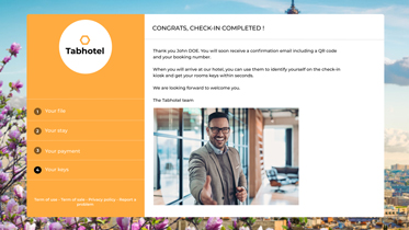 Hotel online check-in completed